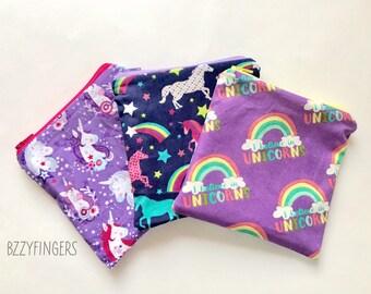 Reusable Snack Sack Trio / Unicorns and Rainbows