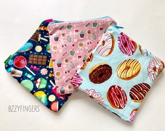 Reusable Snack Sack Trio / Donuts and Sweets
