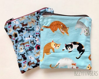 Reusable Snack Sack Set / dogs and Cats
