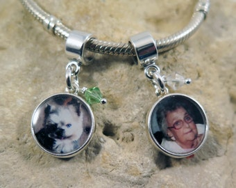 NEW - Double-Sided Circle Sterling Custom Photo Charm with Bead Accent for European Charm Bracelets
