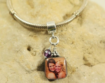 NEW - Small and Sweet Double-Sided Square Mother of Pearl Custom Photo Charm with Bead Accent Dangle for European Style Charm Bracelet