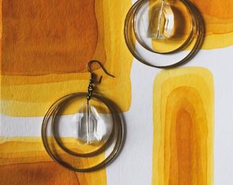 hoop earrings   glass and brass earrings  hoop earrings    sphere orb glass crystal earrings    Portland Oregon     iheartmies