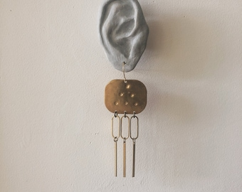 large stamped brass  earrings   Hammered circles dots earring pattern   stamped brass earring with hoop   Portland Oregon   iheartmies