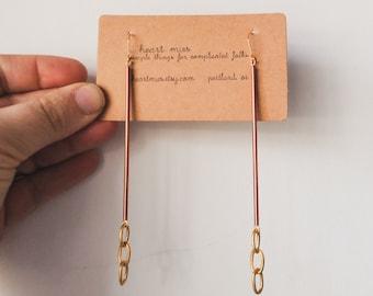 mixed metal copper and chain earrings   drop dangle brass earrings   long chain earring   iheartmies   long light earrings