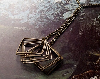brass necklace with square findings