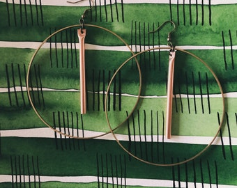 brass hoop earrings with copper tube bar   mobile earrings   large hoop brass earrings   simple hoop   lightweight   mixed metal