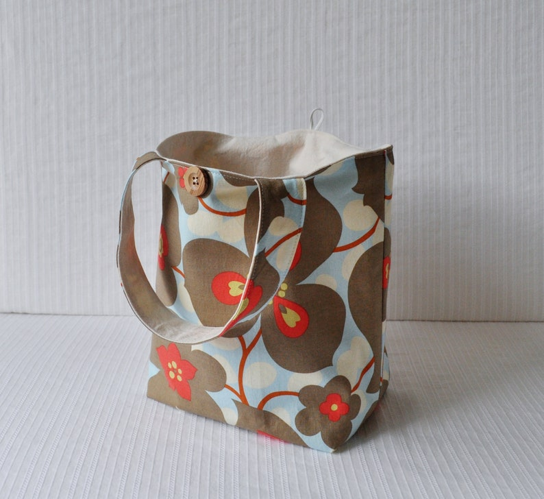 Blue and Gray Floral Tote Simple Lunch Bag Knitting Project Bag