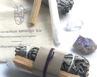 Restoration Smudge Kit, White Sage Smudge, Energy Clearing, Amethyst Crystal, Self Care Gift