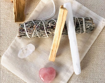 Rose Quartz Smudge Kit, White Sage and Lavender Smudge, Energy Clearing, Amethyst Crystal, Self Care Gift