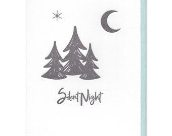 Silent Night, Holiday Card, Christmas Card, Letterpress Card