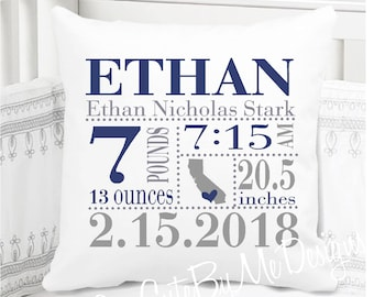 Boys Birth Announcement Pillow - Birth State Love - Boys Navy Blue and Gray
