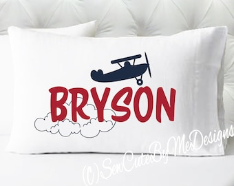 Personalized Boys Pillowcase - Airplane Pillow Case - Navy and Red - Kids Pillowcase - Pillow Cases