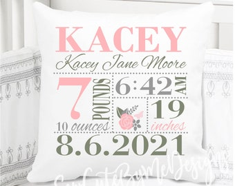 Girls Birth Announcement Pillow - Floral - Baby Pink Sage and Grey - Birth Stats Pillow - New Baby Gift - New Mom Gift - cotton