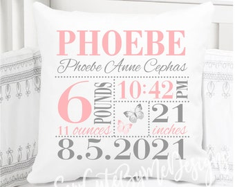 Girls Birth Announcement Pillow in Baby Pink and Grey butterflies - personalized new baby gift - butterfly - nursery pillow