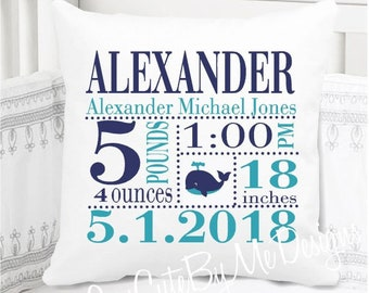 Boys Birth Announcement Pillow - Whale in Navy and Aqua