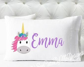 Personalized Girls Pillowcase - Unicorn Pillow Case - Kids Pillowcase - Standard Size Pillowcase - Pillow Cases