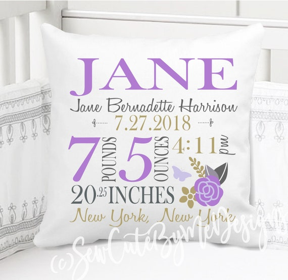 Lavender and Grey 14 x 14 or 16 x 16 Birth Announcement Pillow for Baby Girls Nursery with Birth City and State Includes Personalized Pillowcase and Pillow Insert