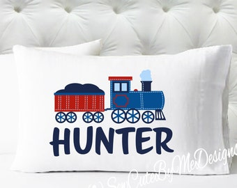 Personalized Boys Pillowcase - Navy Blue and Red Train Pillowcase - Kids Pillow Case - Standard Size Pillowcase