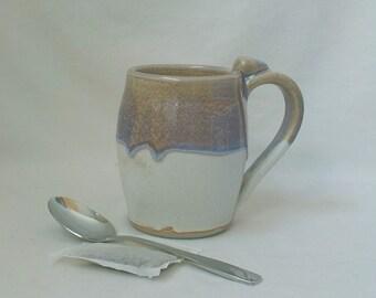 Ceramic Mug  Handmade Stoneware Cup  Tea Drinking Vessel  Coffee Mug   Ready to Ship  Hostess Gift  Tan and Blue Heather over Off-White m366