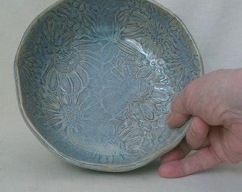 Ceramic Slab Bowl Textured  Stoneware Serving Dish Trinket Dish  Display Bowl Textured Pattern Hostess Gift Blue Rutile Ready to Ship  B466