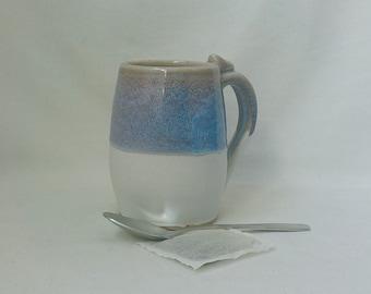 Ceramic Mug  Handmade Stoneware Cup  Tea Drinking Vessel  Coffee Mug   Ready to Ship  Hostess Gift  Seashell Blue Heather and Off-White m365