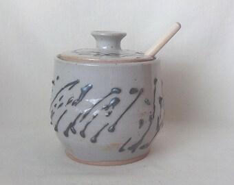 Ceramic Honey Jar Stoneware Condiment Keeper  Lidded Pottery Container  Handmade Jam Jar Ready to Ship  Gray with Raised Black Texture  s656