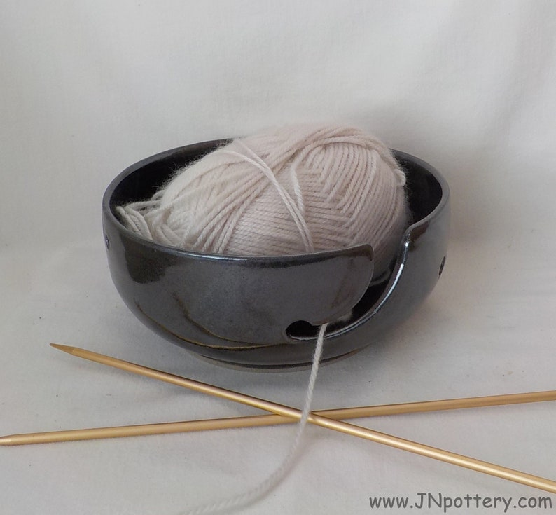 Ceramic Yarn Bowl  Yarn Keeper  Stoneware Skein Holder image 0
