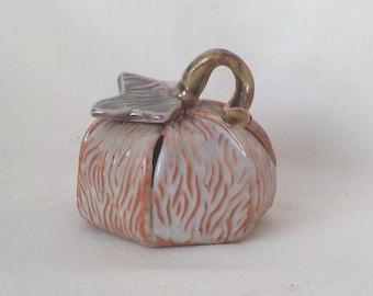 Ceramic Pumpkin Rattle  Fall Home Décor  Handmade Stoneware   Autumn Table Decoration   Halloween   Light Shino Tan  Ready to Ship  v682