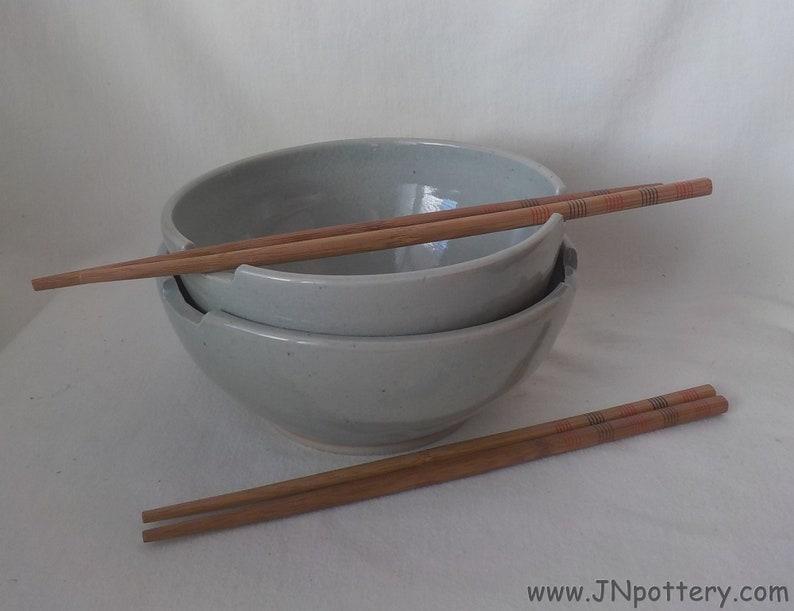 Ceramic Noodle Bowls  Stoneware Chopstick Bowls  Handmade image 0