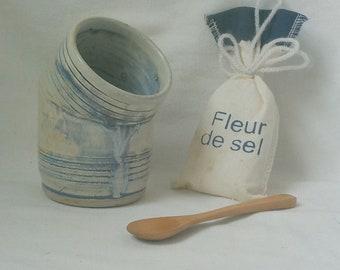 Ceramic Salt Cellar   Open Stoneware Crock   Handmade Salt Pig   Kitchen Counter Item  Cooks Tool   Ready to Ship  Rutile Tan Blue  s710