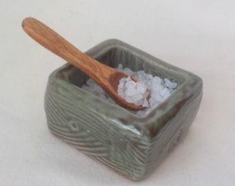 Stoneware Salt Bowl  Ceramic Spice Caddy  Table Service Item Chunky Dish  Kurinuki Seasoning Bowl  Oribe Mossy Green  Ready to Ship  s657b