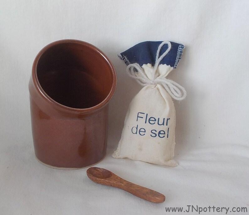 Ceramic Salt Cellar  Salt Keeper  Stoneware Salt Pig  Handmade image 0