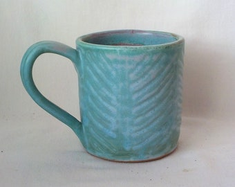 Handmade  Ceramic Mug  Stoneware Coffee Cup  Drinking Vessel Hostess / Birthday / Mothers Day Gift  Ready to Ship Turquoise /Off White  m361