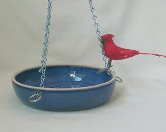 Stoneware Hanging Bird Feeder  Pierced Ceramic Bowl  Garden Accessory  Bird Lover Gift  Yard Decor  Ready to Ship  Rich Cobalt Blue  g128