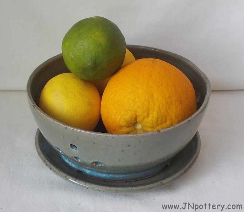 feee5b91297f6 Ceramic Berry Bowl Stoneware Colander and Saucer Kitchen | Etsy