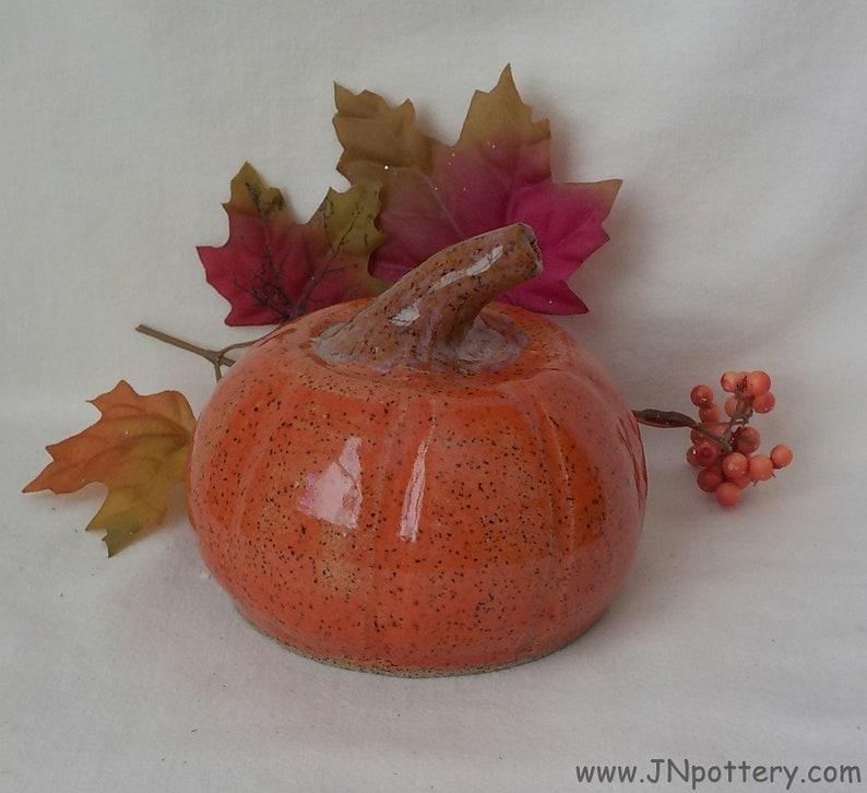 Handmade Ceramic Pumpkin  Stoneware Autumn Decoration  Wheel image 0