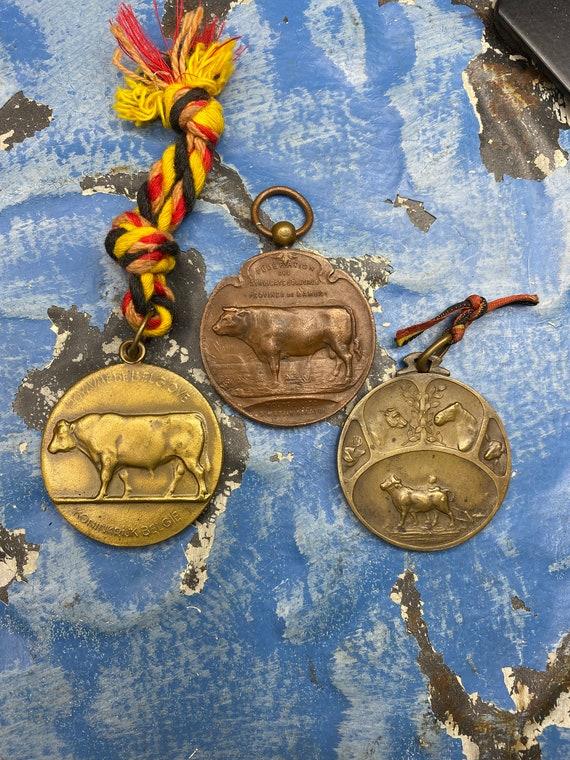 LAST ONE! Vintage Bull Cow Medal Pendant Medallion