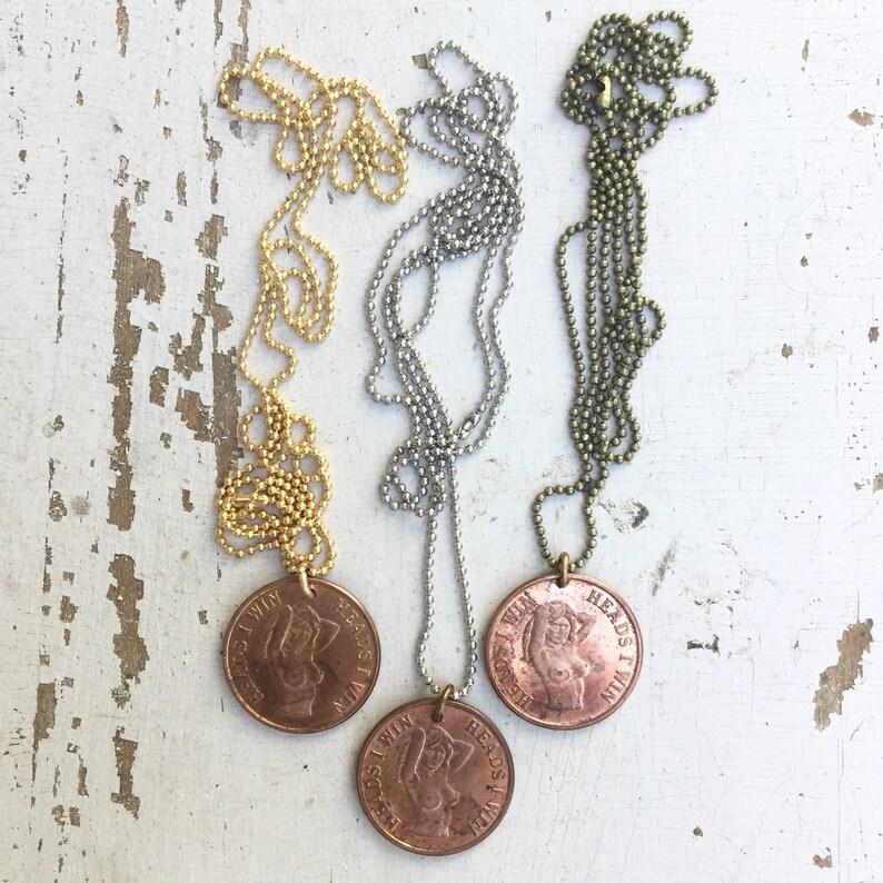 Vintage Pin Up Girl Necklace Nude Coin pendant Risque Bachelor *Bulk Bundle* 1970s Humor Novelty men Mature hippie biker 5 pc LOT