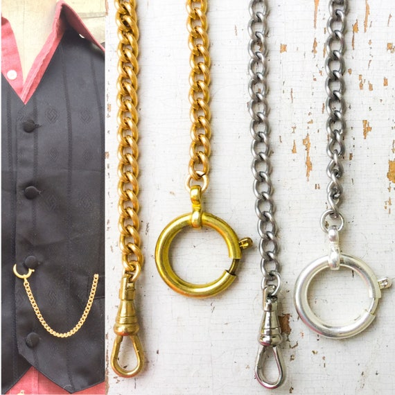 Gentleman/'s Monocle With Golden Chain Victorian 1920s Fancy Dress Accessory
