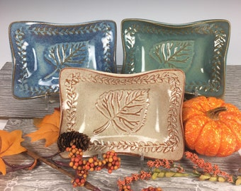 Aspen Leaf Dish, Pottery Dish with Leaf Design, Jewelry Dish, Handmade Pottery, Ceramic Dish, Ring Tray (RD1)