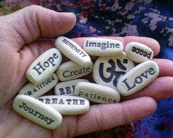 Any 12 Inspirational Quotes from list, Pocket Messages, Intention Stones, Yoga Gifts, Memorial Gifts