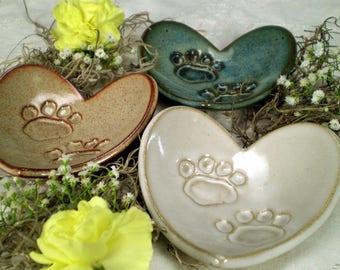 Animal Lover Gift, Paw Print Heart Dish, Colorado Pottery, Dog Lover Gift, Cat Lover Gift, Veterinarian Gift, Handmade Pottery (PH1)