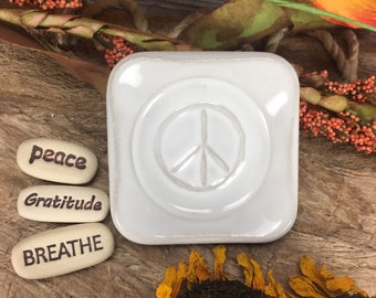 Peace Dish with 3 Inspirational Stones, Custom Meditation Gifts, Affirmations, Inspirational Gifts, Gratitude Stones, Recovery Gifts (DS8)