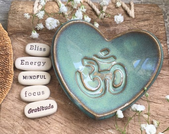 Any 5 Inspirational Stones with Om Dish, Custom Meditation Gifts, Intention Stones, Inspirational Gifts, Gratitude Stones (DS101)