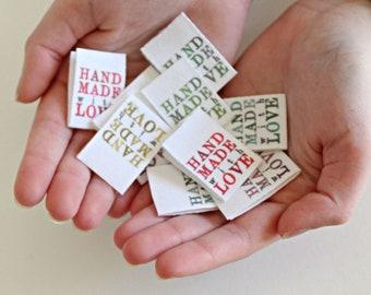HANDMADE with LOVE - 10 x labels - RAINBOW