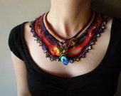 Chimerical Flowers ... Freeform Crochet Necklace