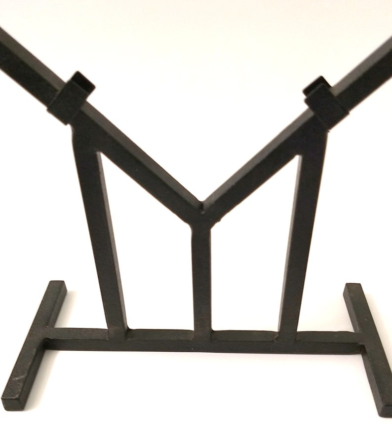 Heavy Wrought Iron V Shape Display Stand 12 Inches Wide