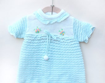 Vintage Baby Dress / Vintage Baby Blue Knit Dress Set / Size 6-9 Months
