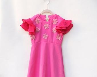 Vintage Girl Dress / Vintage Hot Pink Girl Dress / Full Length Dress / Size 6
