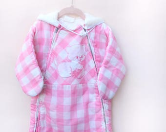 Vintage Baby Snow Bunting / Pink Buffalo Check Kitty Snow Bunting / Size 6-9 Months